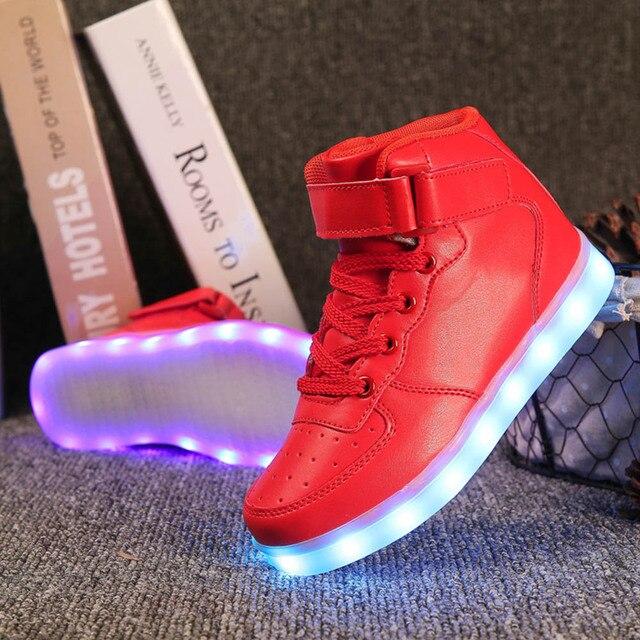FS Red Kids LED Light Up Children Shoes For Boys Girls Men Women Glowing Luminous Sneakers USB Charging Fashion Sport Hook Loop