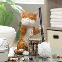 European creative cat toilet toilet brush set Durable soft hair toilet brush holder base bathroom decoration