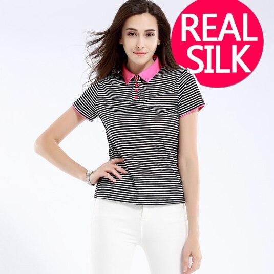 100% pure REAL SILK women striped England style british high quality basic shirt ladies body short sleeve POLO shirt 2015 new