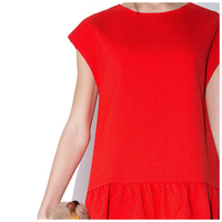 TFGS Women S Summer Fashion Dress Short Sleeve Pleated Girl Mini Dress Irregular Loose O Neck