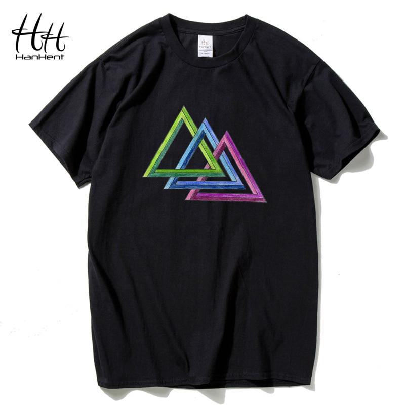 HanHent Multicolor Geometric   T  -  shirt   for Men Crew Neck Tshirt Streetwear Harajuku Custom   T     shirts   The Big Bang Theory Tshirt Man