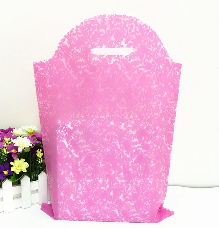 30*45cm Pink Large Plastic Bags Clothing Gift Packaging Plastic Storage bags With Handle