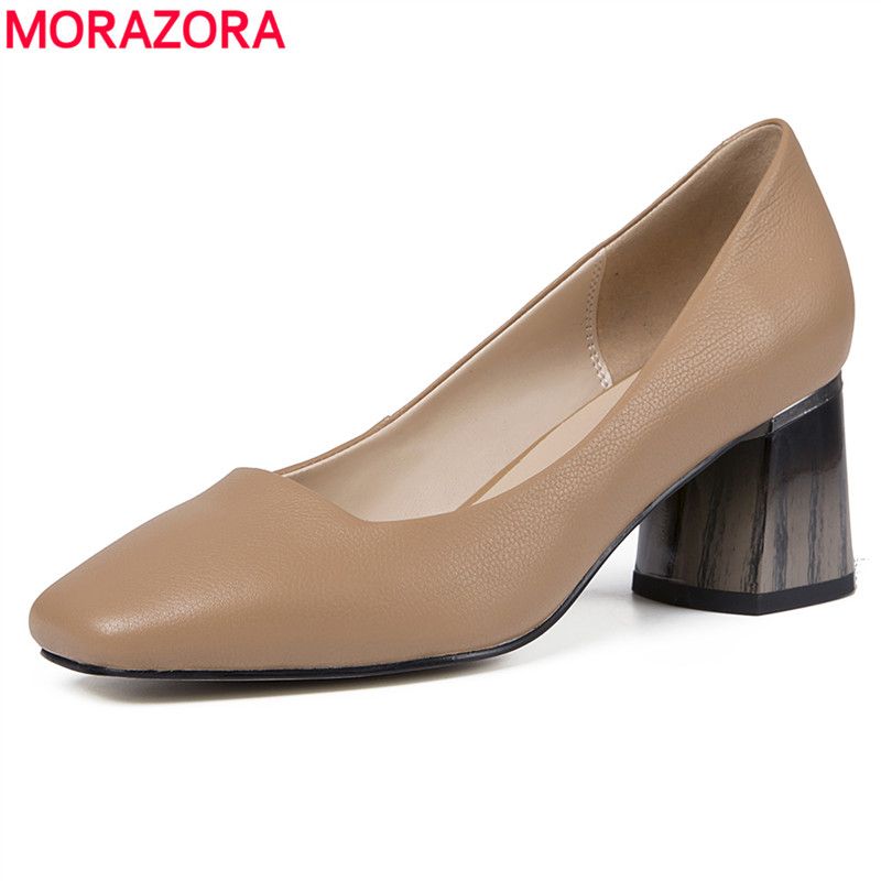 MORAZORA 2019 new arrival genuine leather shoes women pumps square toe spring summer shoes square heels