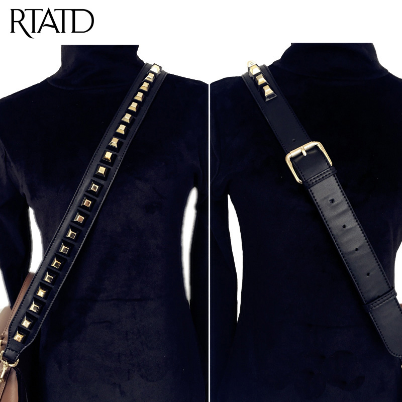 RTATD Adjust Women Genuine Leather Bags Strap Rivet Handbags Belt Strap For Bags Cow Leather Hot Sell Icon Bag Parts C546