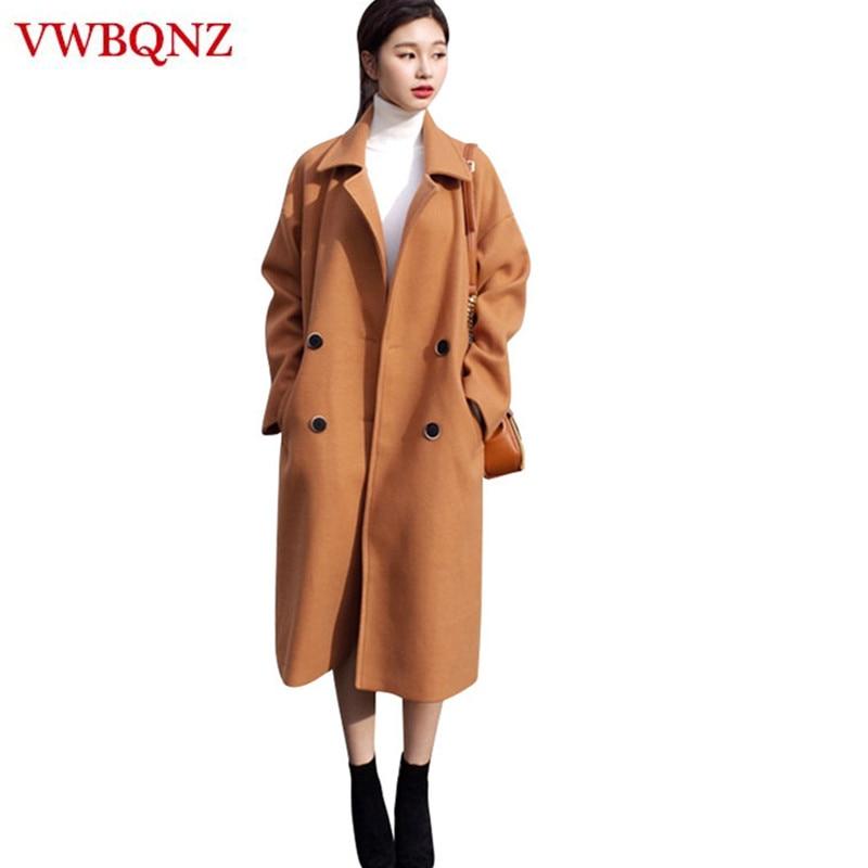Women Warm Winter Jacket Coat Elegant Slim Long Overcoat Double breasted Casual Female Windbreaker Woolen Coat Plus size 3XL