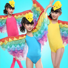 Primary School Kids Cosplay Costumes Colored Bird Parrot Stage Show Cosplay Clothes Pupil Holiday Show Program Perform Wear