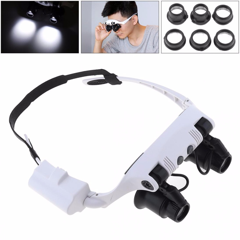 Sales 10X 15X 20X 25X ABS Portable Adjustable Interchangeable Lens Headband Eyeglass Magnifier with LED Light and 8 Lens