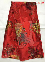 Red Gold Flocking Silk Velvet With Stons 5yards Pcs African Fabric Arabian Style For Sewing Velvet