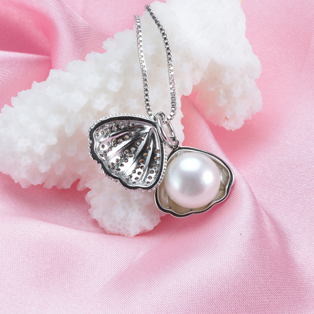 Genuine Pearl In Clam Sterling Silver Necklace