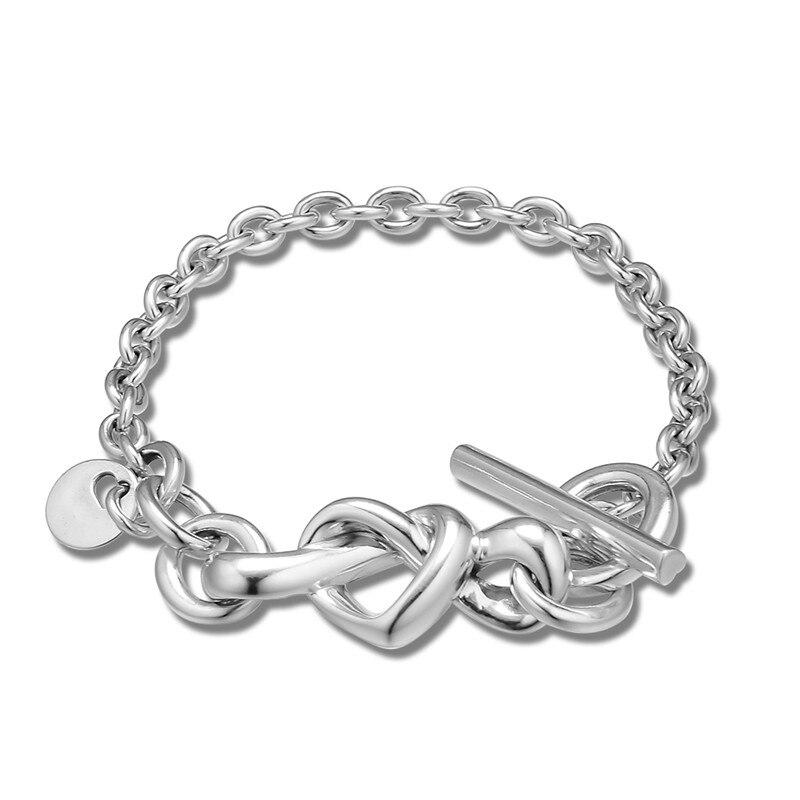 Knotted Heart Bracelets for Women Men Fashion 925 Sterling Silver Bracelets Jewelry Charm Chain Bracelets 2019