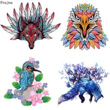 Prajna Fox Wolf Parrot Iron-On Transfer Skull Animals Heat Accessories Patches For Clothing DIY Washable Stickers Decor