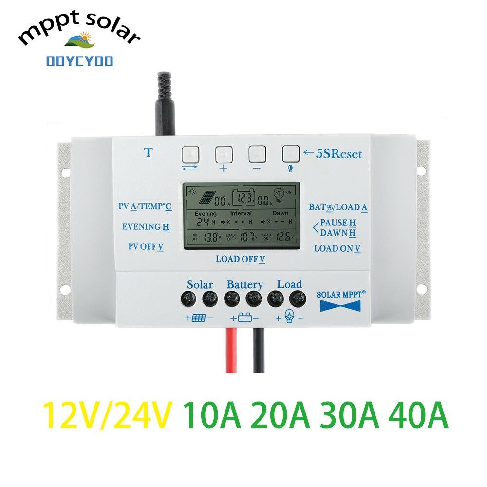 MPPT OOYCYOO T40A 12 V 24 V Auto display LCD Controlador de carga Solar com controlador de carga de Controle duplo temporizador Rua sistema de luz