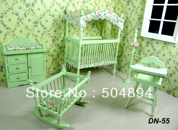 5pcs Set Nursery Baby Doll Room Wood Bed Bedroom 1 12