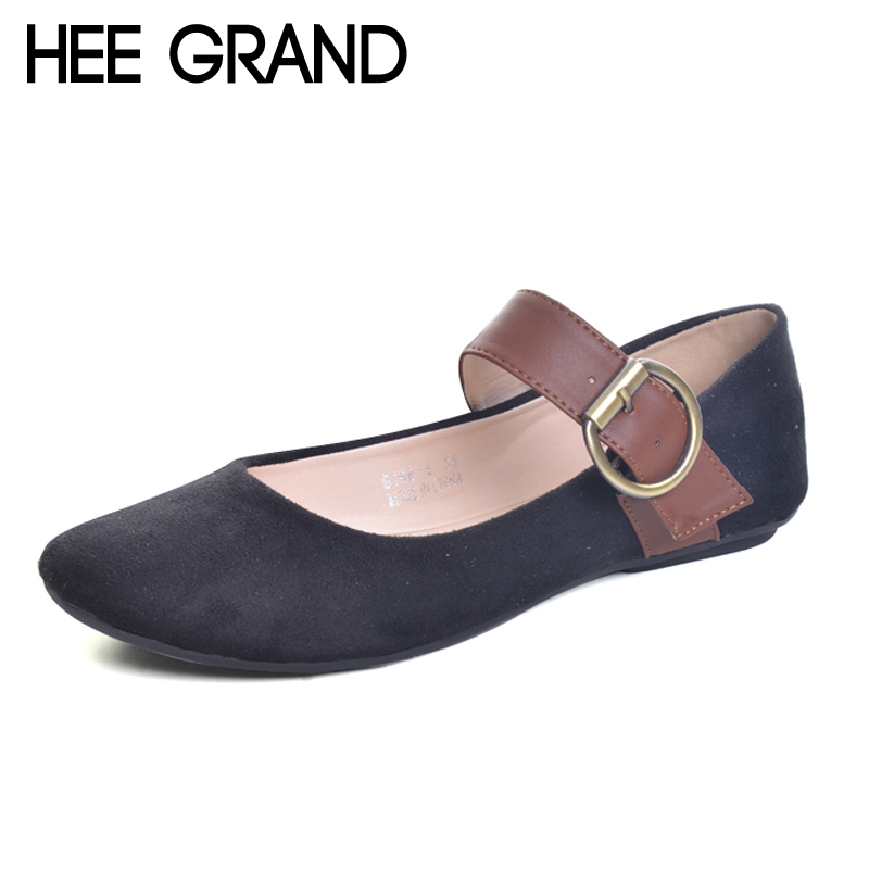 HEE GRAND Buckle Loafers Solid Round Toe Ballet Flats 2017 Casual Slip On Shoes Woman Comfort Autumn Women Flat Shoes XWD5974 hee grand 2017 new women oxfords british pu patent leather platform flats spring round toe slip on casual shoes woman xwd3511