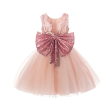 Girls Sundress New Summer Princess Girl Clothes Sequins Bowknot Sleeveless Backless Party Dress for