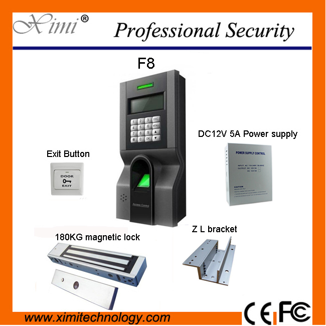 F8 Fingerprint Access Control Kit With Magnetic Lock and Power Supply, PC Exit Button,Bracket
