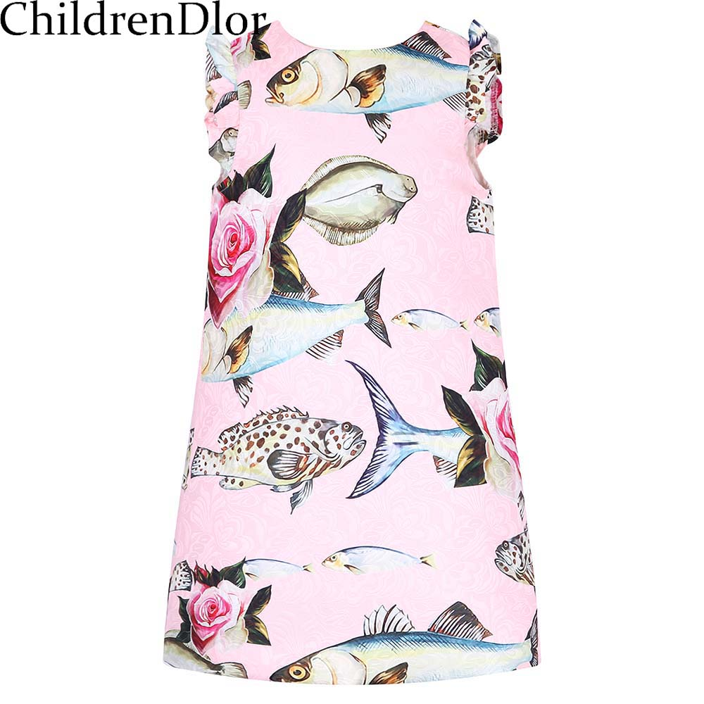 купить Roupas Infantis Menina Pincess Costume for Girls Summer Dress 2017 Brand Kids Dresses for Girls Clothes with Cute Fish Printed дешево