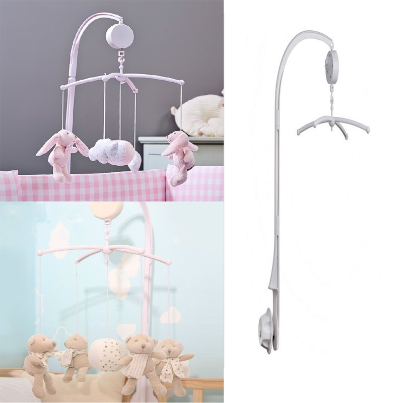 Pure White Baby Toy Rattles Bracket Set Cot Mobile Bed Bbell Toys Holder Arm Bracket +Wind-up Music Box CX874342(China (Mainland))