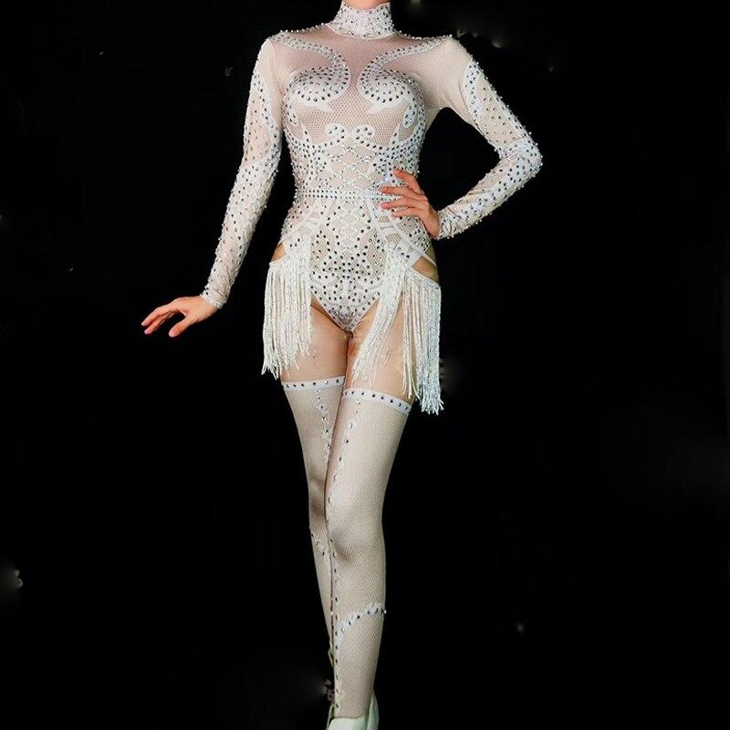 Creativo Bling Strass Frange Della Tuta Delle Donne Di Compleanno Celebrare Stretch Costume Della Nappa Tuta Prestazioni Spettacolo Di Danza Di Usura Dn2239