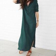 Summer Dress Casual Plus Size Long Sleeve Button Up Long Maxi Dress Cotton Linen Split Women Dress plaid button up long sleeve dress