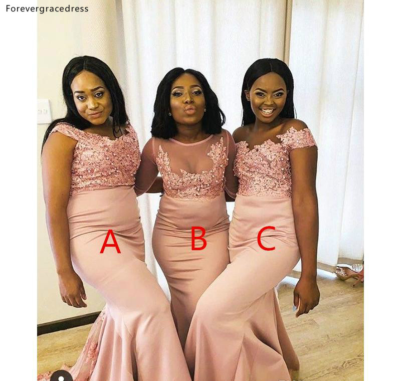 South African Sheer Neck Bridesmaid Dresses Summer Country Garden Wedding Party Guest Maid of Honor Gowns Plus Size Custom Made