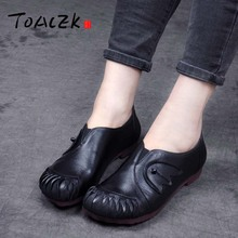 Spring and autumn new products flat womens shoes with a retro style of leather sewing casual