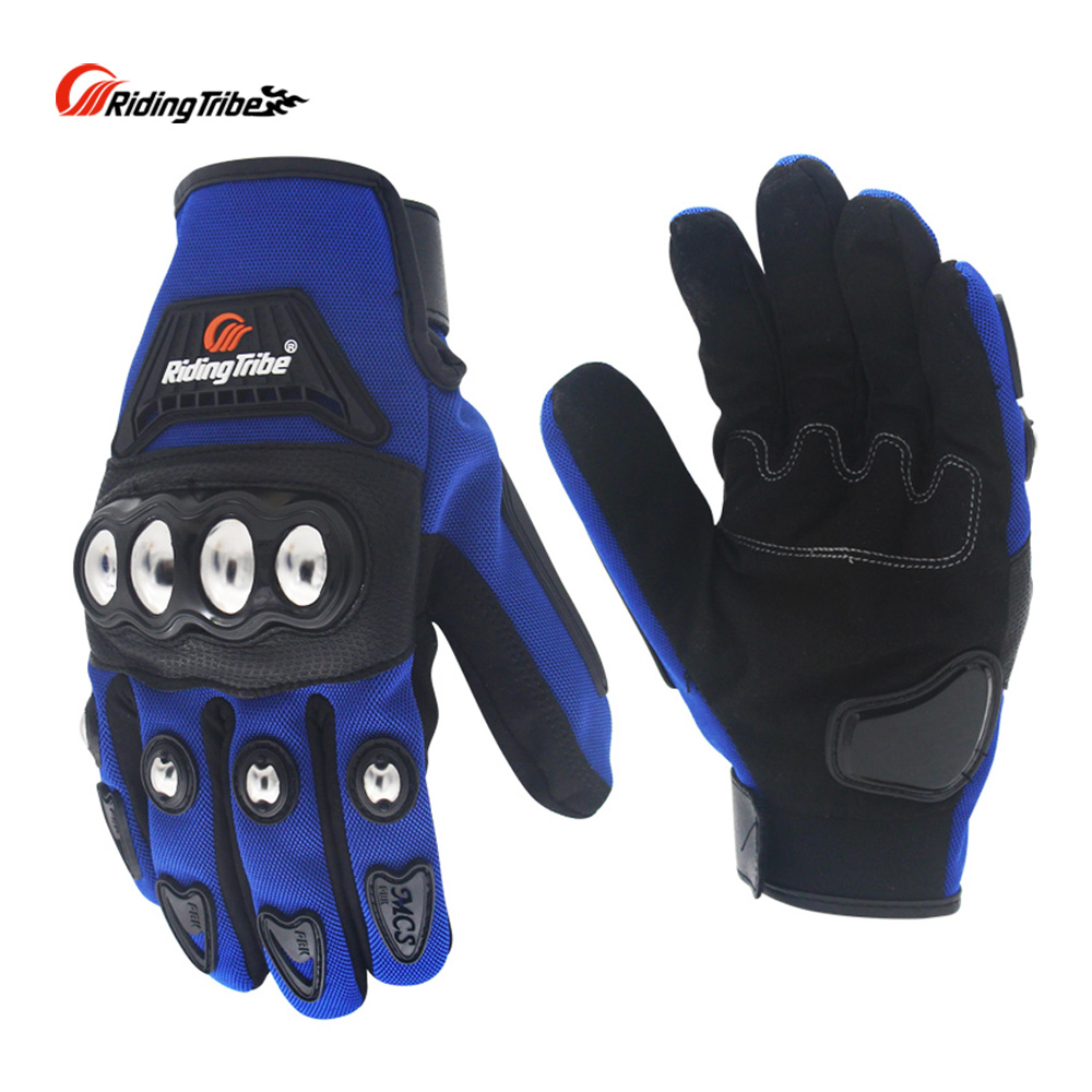 Riding Tribe Motocycle Gloves Protective Gears Touch Screen Non-slip Moto Bike Skiing Gloves Breathable Blue Color MCS-29