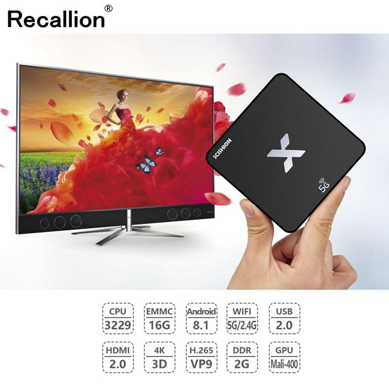 NEW 4K/3D Smart TV Box 2GB/16GB Rockchip RK3229 Android 8.1 5G/2.4G WIFI Quad Core Internet Set Top RECALLION Model X