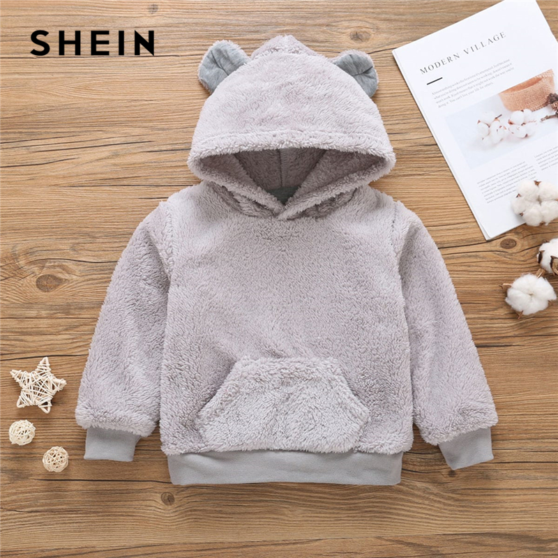 SHEIN Kiddie Toddler Grey Solid Pocket Hooded Teddy Boys Casual Sweatshirt Kids Clothes 2019 Spring Long Sleeve Pullovers Tops lantern sleeve patch sweatshirt