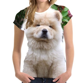 Lovely Puppy Chow Dog Print Summer T Shirts Women Harajuku Animal Design Female Short Clothing Tees Casual T-shirts