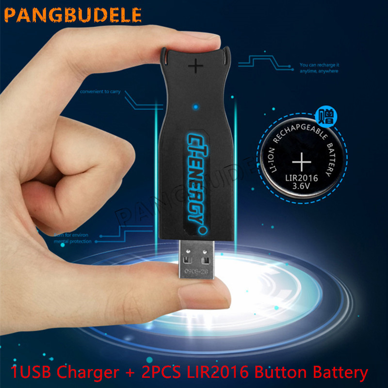 High-quality NEW USB interface charger 1PCS + 2PCS rechargeable coin cell LIR2016 Button <font><b>Battery</b></font> .universal LIR2025 LIR2032 image
