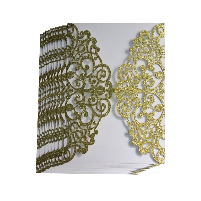 100pcs Gold Glitter Laser Cut Invitations Card Covers Lace Hollow Greeting Cards Invites Party 3 Colors