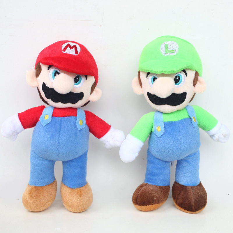 2 개/몫 큰 크기 40 센치메터 슈퍼 마리오 스탠드 마리오 & 루이지 봉제 장난감 인형 마리오 브라더스 봉제 부드러운 봉제 아이 장난감 선물