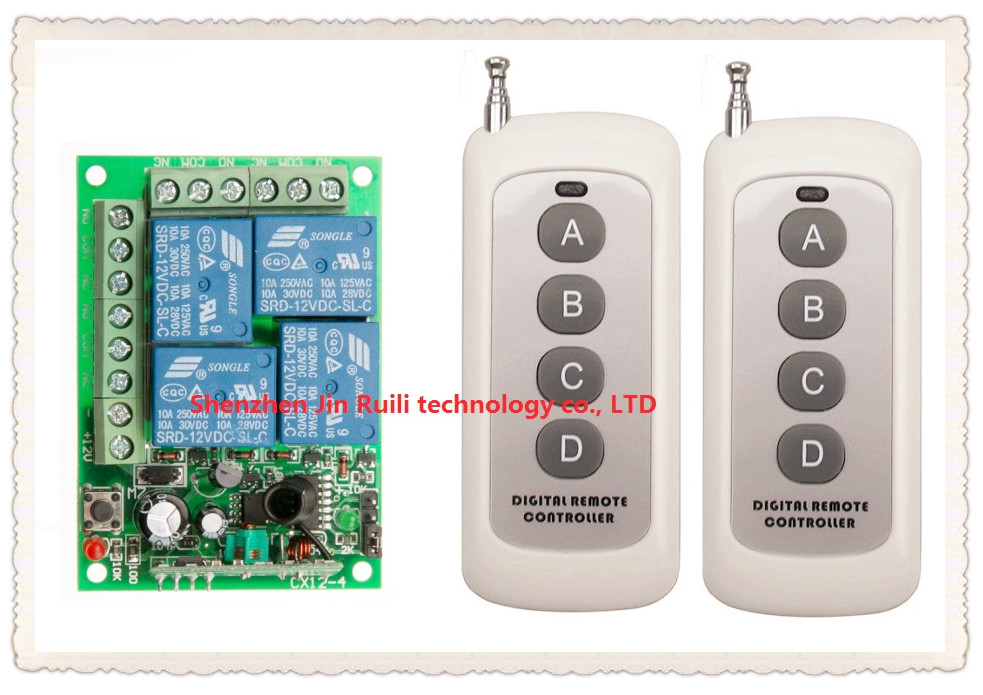 DC12V 10A 4CH Radio Controller RF Wireless Relay Remote Control Switch 315 MHZ 433 MHZ teles witch 2 Transmitter + 1 Receiver dc 12v 24v 10a 8 ch 8ch radio controller rf wireless remote control switch system 315 433 92 mhz 3 x transmitter receiver