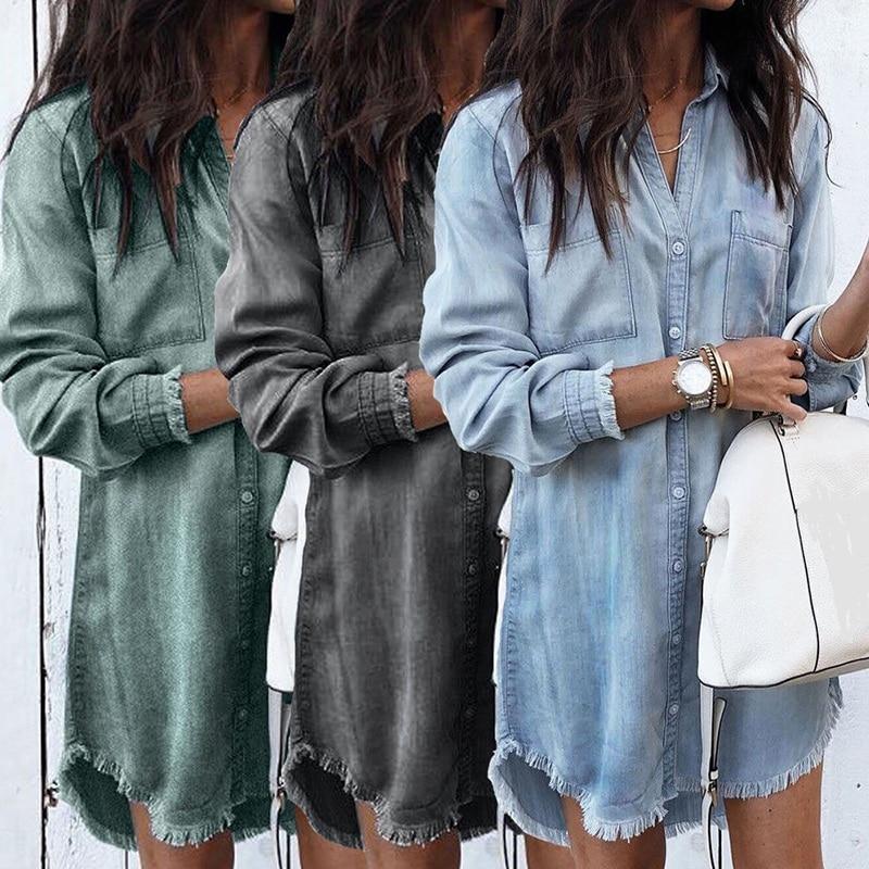 2019 Women Long Sleeve Loose Denim Shirts Dress Summer Fashion Casual Female Mini Dress Lady Turn-down Collar Shirt Short Dress