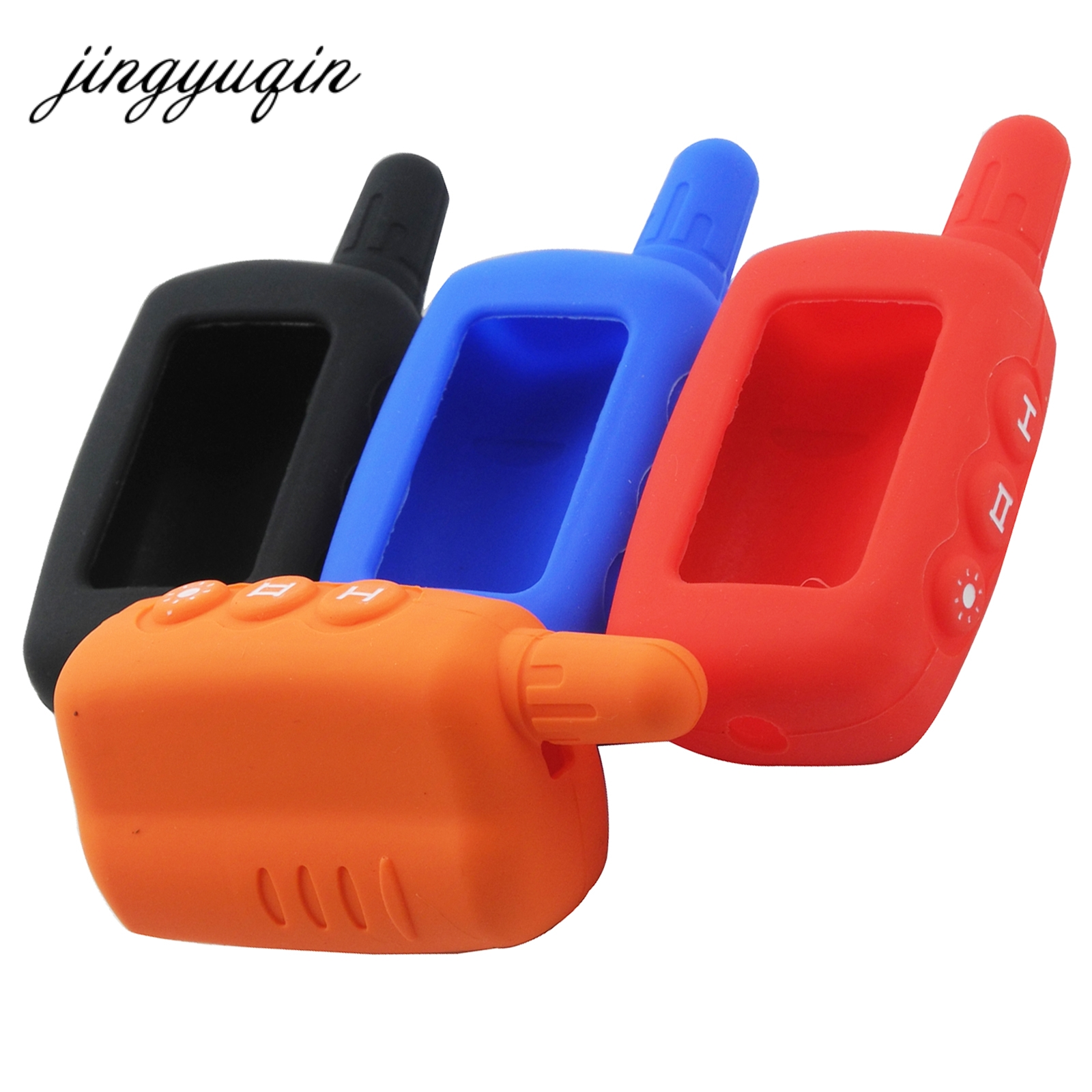 jingyuqin Silicone Key Case for Starline A6 A9 A8 Two Way Car Alarm LCD Remote Controller keychain Cover free shipping a9 case keychain for russian version starline a9 a8 a6 case keychain lcd two way car alarm system remote control
