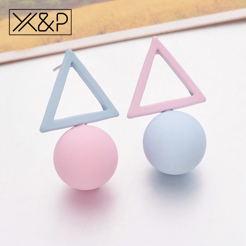 X&P Fashion 1Pair Korean Style Stud Earrings For Women Girl Triangle Different Candy Color Earrings Jewelry