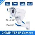 Ranura Para Tarjeta Incorporada POE 2.0MP Cámara Bullet IP PTZ 10X Zoom Lens1080P Proyecto IR-CUT ONVIF Visión Nocturna IR 80 M A Prueba de agua P2P