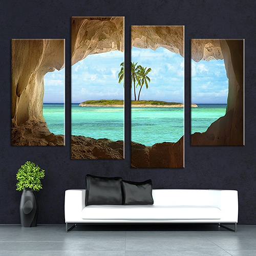 4Pcs Cave Seascape Home Living Room Wall Art Decor Unframed Decorative Paintings wall art sunset pyramids printed unframed canvas paintings