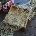 Chantilly Lace Trim Vintage Gold Lace Eyelash Lace Fabric for Wedding Gowns, Bridal Veils, Mantilla