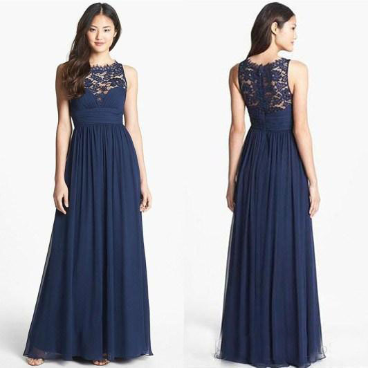 Navy Blue Long Wedding Guest Bridesmaid Dresses Lace Chiffon Sheer Neck Plus Size Summer Maid