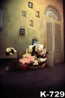 Çiftler Evlilik Düğün Arka Vinil Fotoğraf Arka Plan Retro Bina Odası Renkli Çiçekler Dekor Benzersiz Tasarım Çekimi Zemin