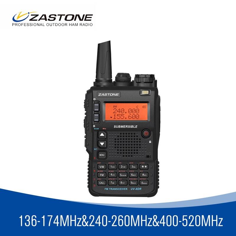 Zastone 8DR Tri Band 136-174/240-260/400-520 Mhz Portable Walkie Talkie 5W Power Ham Radio 2350mah Battery 2 Antennas