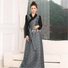 Asia & Pacific women clothing High quality silk blend robe Tibet Style long living dress oriental vestido ethnic costume