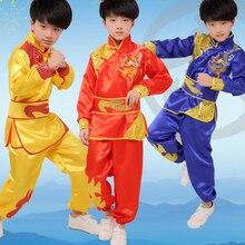 Китайская одежда для девочек кунг-фу, традиционные детские костюмы для танцев с драконом, народные танцевальные костюмы, современные национальные костюмы для мальчиков с изображением Льва ханфу