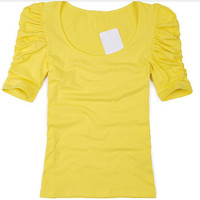 Women S Basic Candy Color T Shirt O Neck Puff Sleeve Female T Shirts Brand Designer