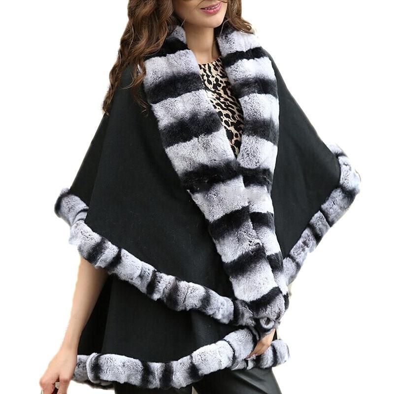 Женская натуральная обертывания из натурального кашемира Настоящий мех кролика накидка пальто пончо Женская Зимняя мода шаль