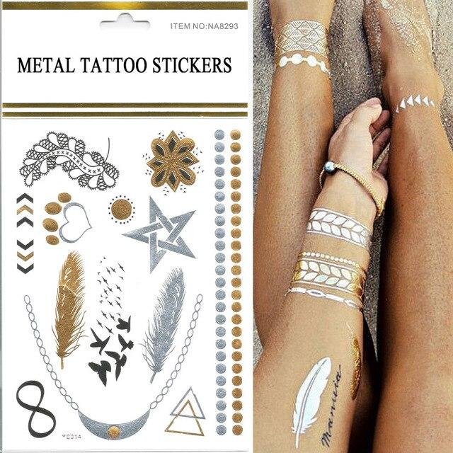 Hot Sale 1pcs/lot Gold Silver Bracelets Women Tattoo Stickers Small ...