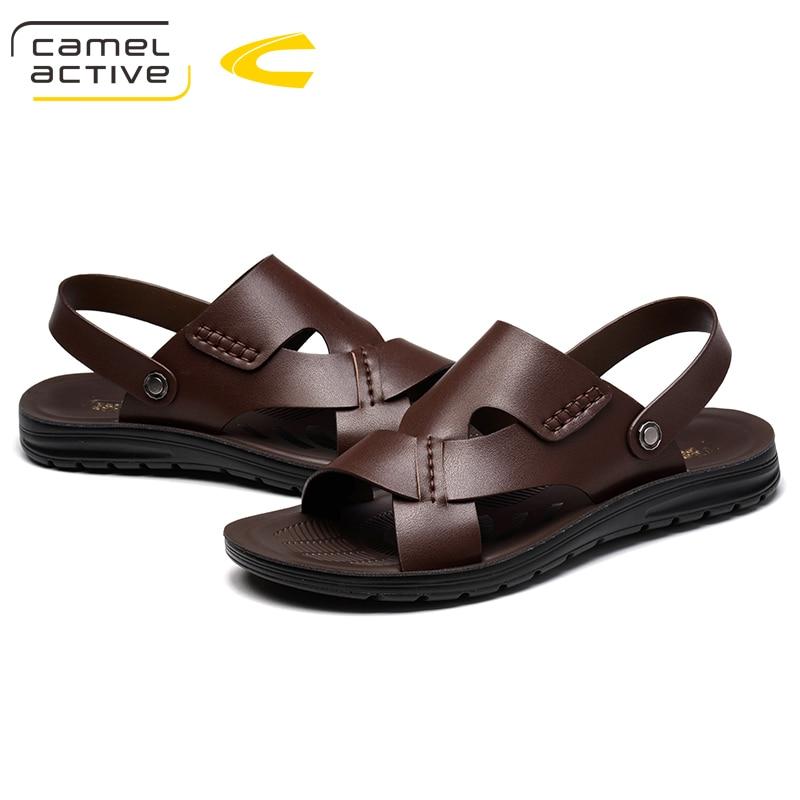 d2d3ada32 Camel Active Summer Men Sandals Leather Vintage Flat Heel Solid Beach  Gladiator Sandals For Men Breathable New Mens Shoes