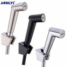 Toilet Bathroom Hand Held Bidet Spray Diaper Shower Sprayer Set Flow ABS Control Portable Shattaf Jet Douche kit Black/Chrome